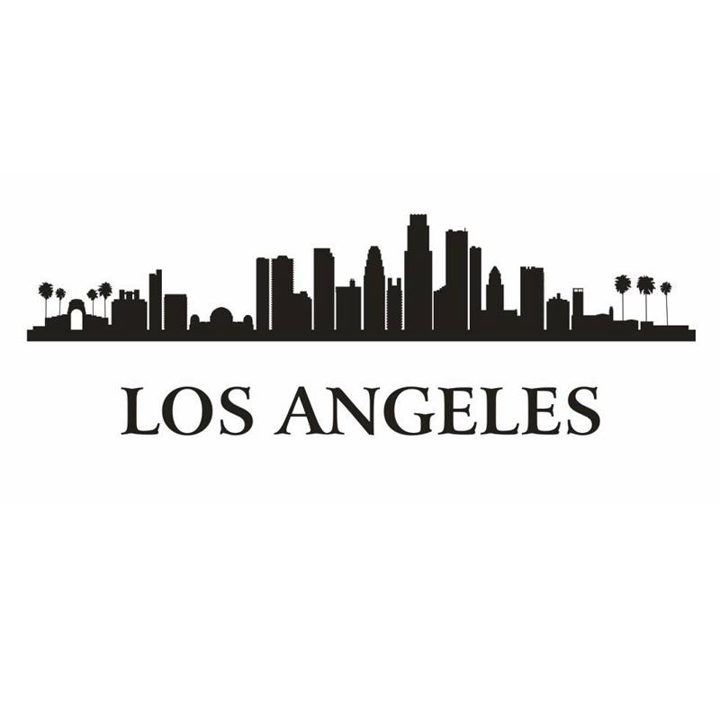 Los Angeles City Decal Landmark Skyline Wall Stickers Sketch Decals Poster Parede Home Decor Sticker