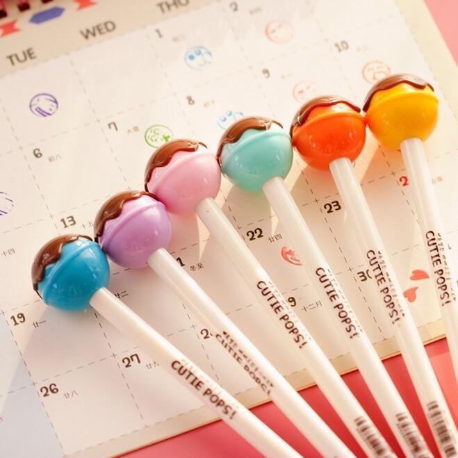 цена на 1PCS/lot Cutie pops gel pen Kawaii Chocolate Lollipop ink pen/Zakka gift stationery Caneta escolar office school supplies/