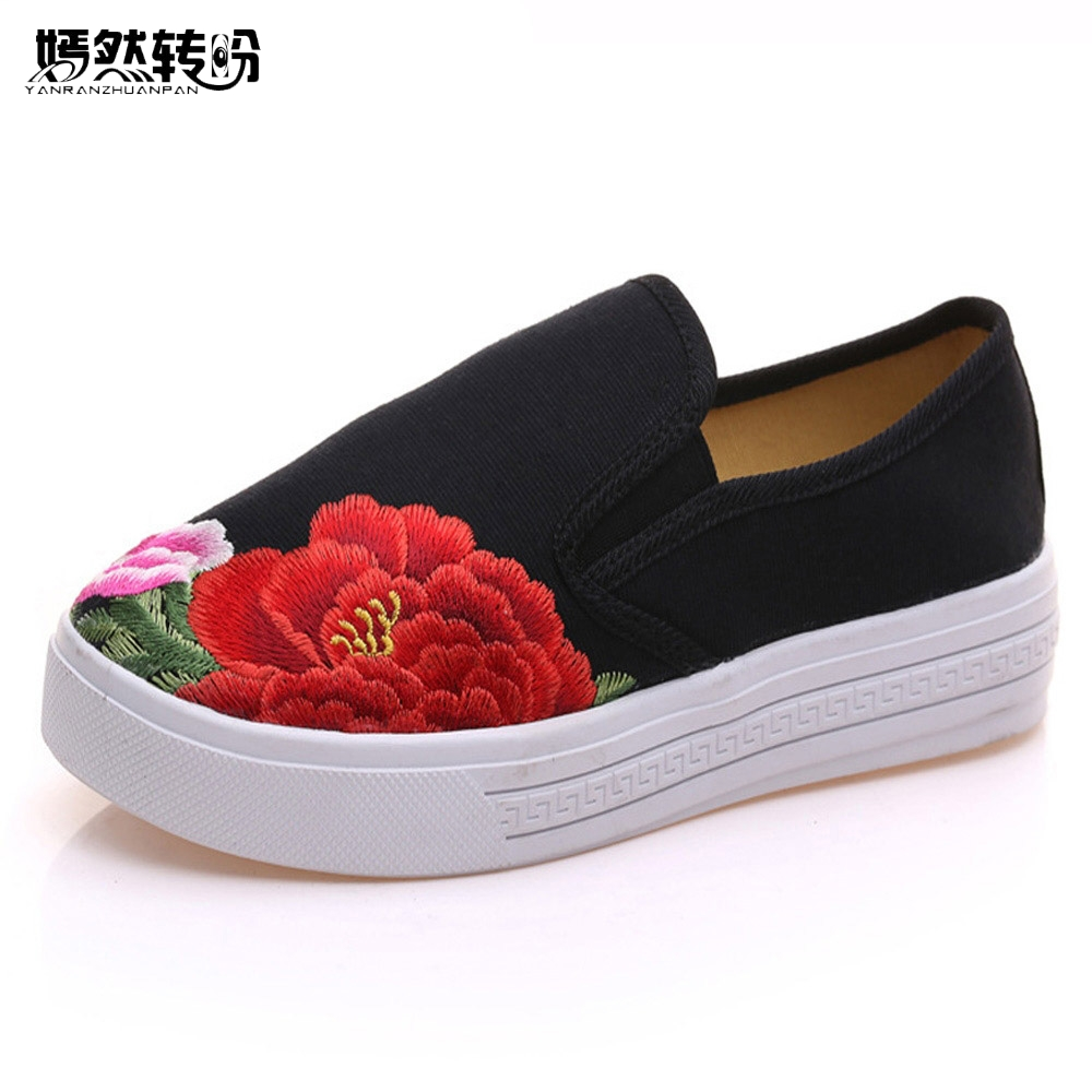 Vintage Women Casual Shoes Chinese Floral Canvas Embroidery Shoes Slip On Soft Single Flats Shoes Sapato Feminino Plus Size 41 2017 new women ladies cable knitted winter hats bonnet femme cotton slouch baggy cap crochet beanie gorros hat for women
