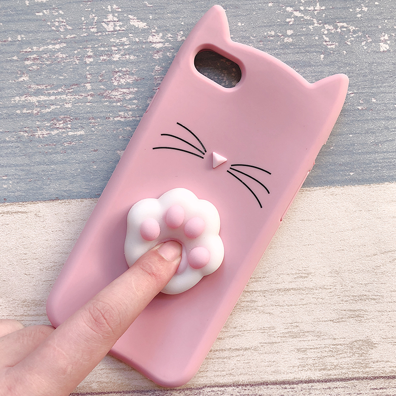 3D Cute Japan Glitter Bearded Cat Case For iphone 5 5S SE X Squishy Cat Cases For iphone 7 8 6 6S Plus Silicone Mobile Phone Bag (16)