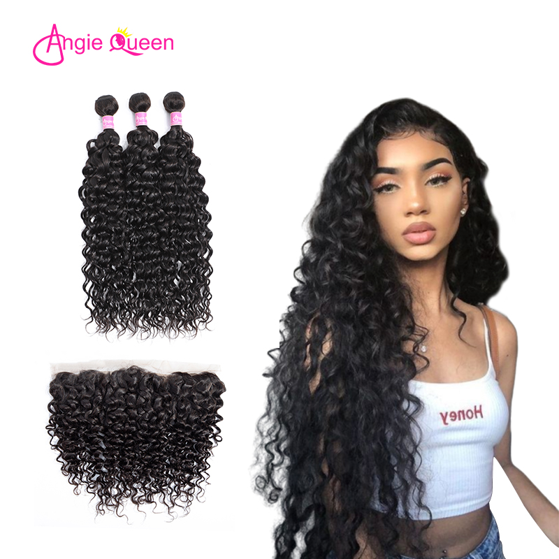 ANGIE QUEEN Brazilian Water Wave Bundles With Frontal Human Hair Bundles With Closure Remy Lace Frontal Closure With Bundles