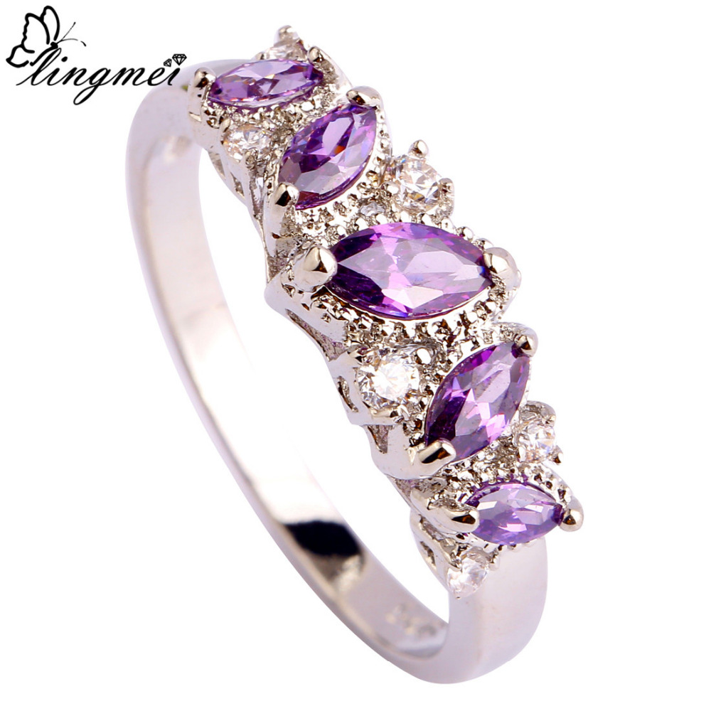 lingmei Woman Rings Purple Amethyst Whits