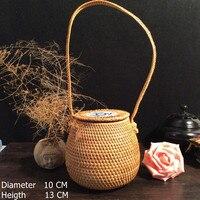 100% Hand Made Vietnam Rattan Knitted Hand Basket For Tea Dessert Storage Baskets 1pcs