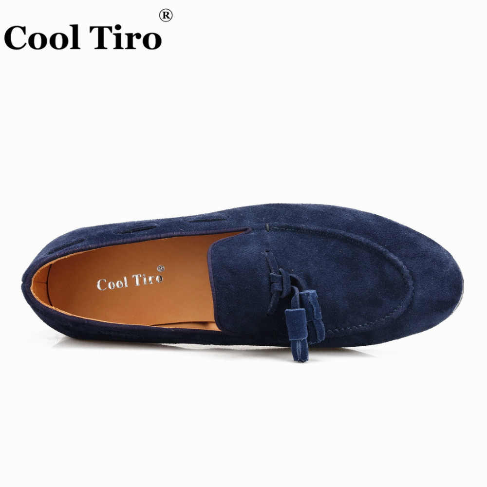 9587a534a4be1 ... Cool Tiro Navy blue Suede Belgian Loafers Tassels Men's Moccasins  Slippers Smoking Man Flats Dress Shoes ...