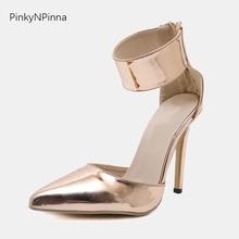 цена woman sandals 2019 summer wedding party shoes golden patent leather super high stiletto heels cover toe wide ankle strap sandals онлайн в 2017 году