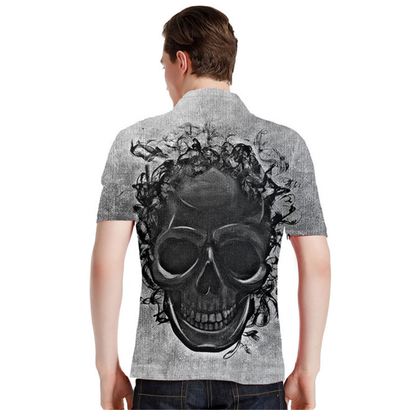 FORUDESIGN Wholesale Shirt 3D Printed Skull Fashion Short Sleeve Cool Mercerized Cotton Slim Fit Casual Business Men Shirts in Polo from Men 39 s Clothing