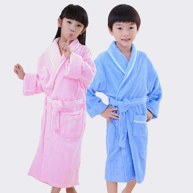 9d084bc894 Children Bathrobe Kids Towel Fleece Boys Girls Cotton Lovely Robes Dressing  Gown Kids Homewear Sleepwear with
