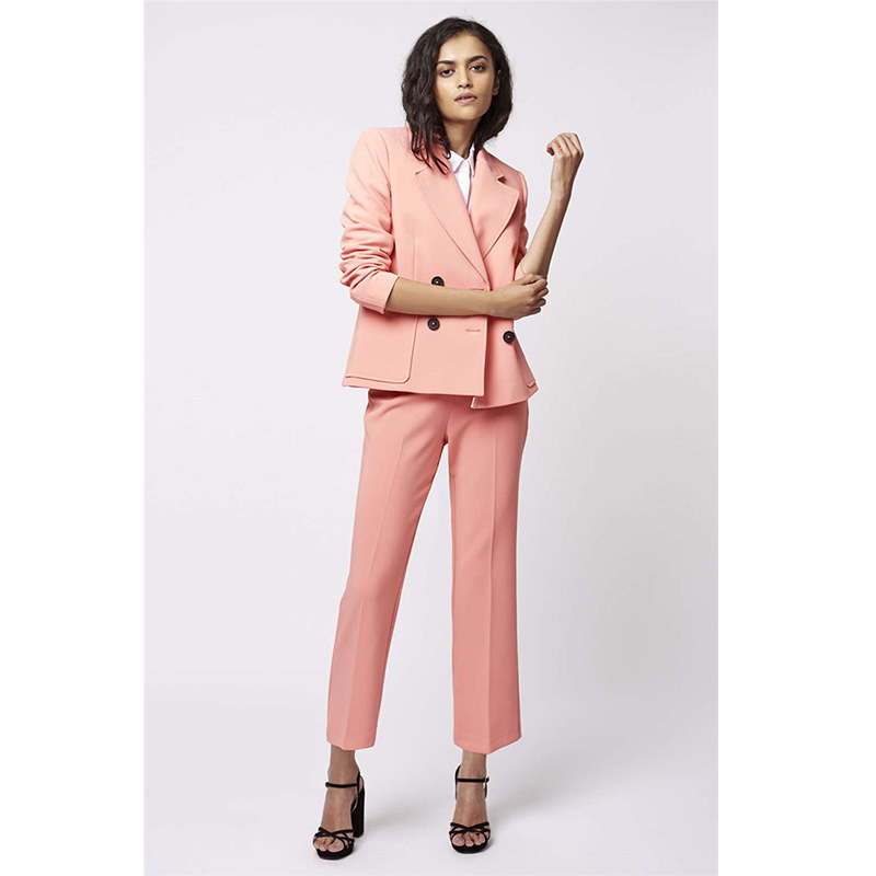 Pink Womens Business Suits Female Office Uniform Ladies Trouser Suits Formal Womens Tuxedo Straight Trousers 2 Piece Blazer