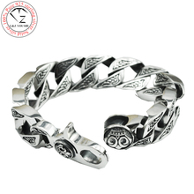 17MM box big chain male s925 solid silver bracelet pure 925 sterling silver bracelets men jewelry HKB17