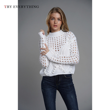 Knit Sweater Women White Sweaters Ladies Hollow Out Back And Pullovers Black Winter 2019 Autumn