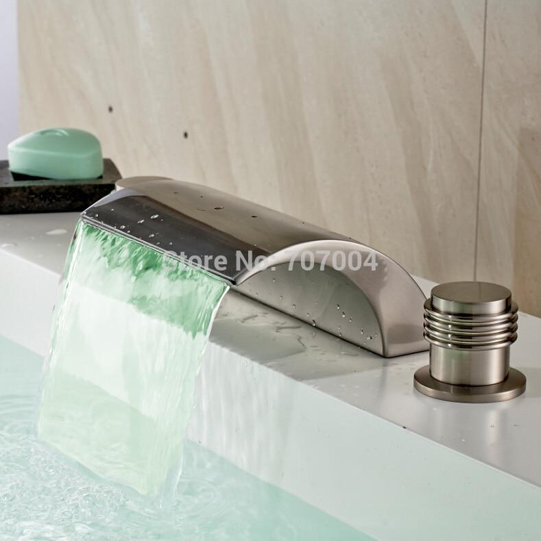 Brushed Nickel Finished LED Bathroom Sink Faucet Deck Mounted Dual Handles Bathtub Basin Mixer Taps