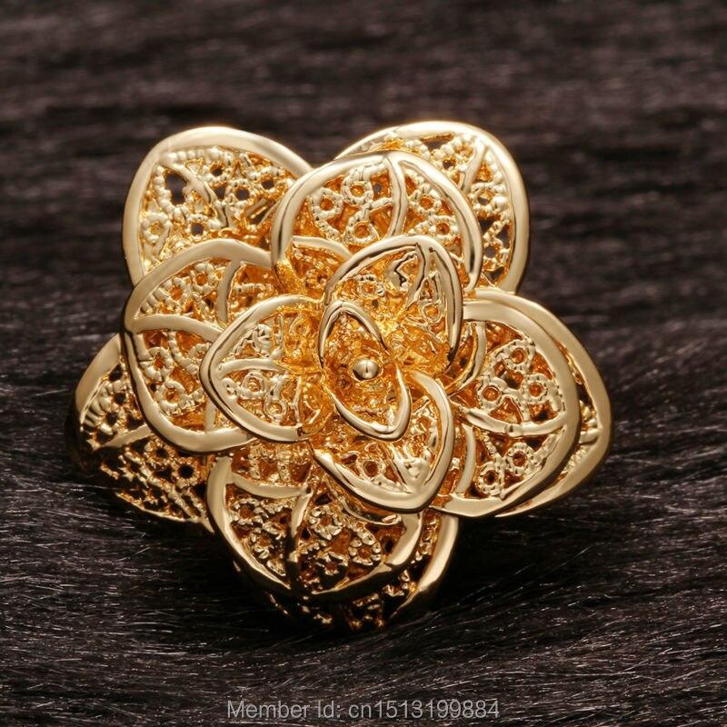 Elegant Big Flower Shaped Eco Friendly Copper New Gold