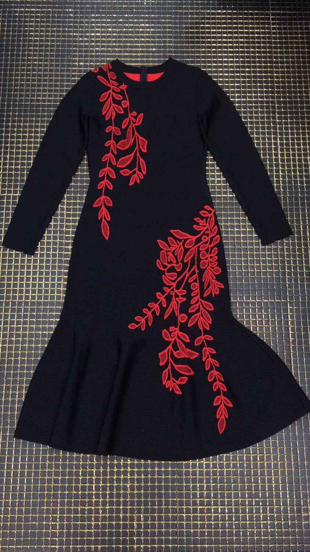 Femmes Noir Longues De mollet Qualité Bandage Nouveau O Élégant Mode Rouge Mi À Celebrity 2018 cou Robe Haute Partie Manches qYEW4W