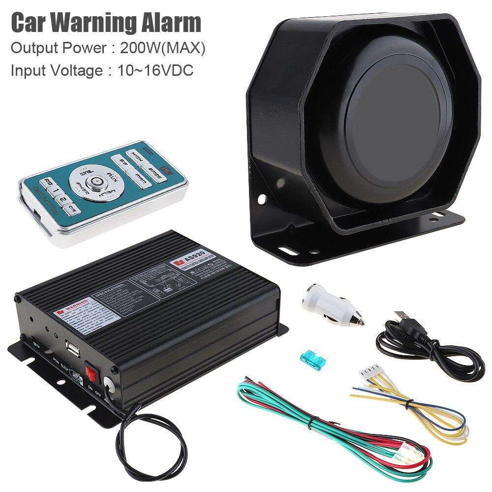 12V 200W 18 тон Автомобильная сирена автомобиля Предупреждение сигнализации PA Динамик с микрофоном и Беспроводной дистанционного Управление для полицейской машины скорой помощи пожарная машина