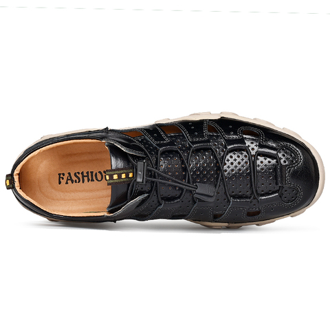 VESONAL Summer Genuine Leather Hollow Non-slip Outdoor Hiking Shoes Men Casual Sandals Breathable Fashion Comfortable Sandals Islamabad
