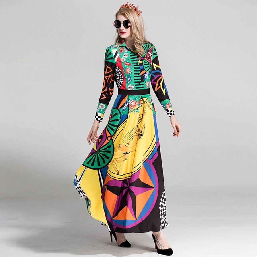 96794c9b2e1e5c AELESEEN Luxus Vintage Strand Lange Kleider Europäische Volle 2018 Mode  drehen unten Kragen Mehrfarbige Sommer Runway Kleid in AELESEEN Luxus  Vintage Strand ...