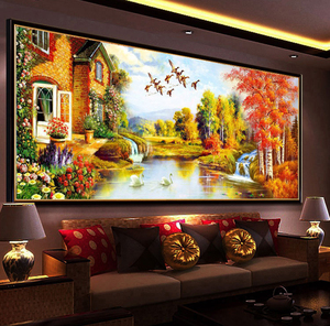 Image 2 - DIY DMC Cross Stitch,Sets for Embroidery Kits,Gold Landscape painting European Garden Pattern Accurate printing Cross Stitching