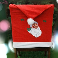 כובע חג המולד קובע אדום 4 pc ארוחת ערב חג מולד דקור כיסויי כיסא לא ארוג סנטה כובע חג מולד מטבח סליפ יו