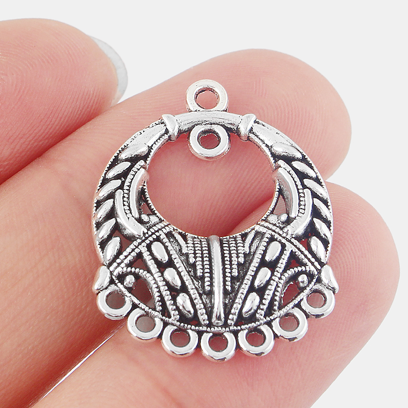 8pcs Antique Silver Ethnic Earring Component Connector Porous Charms Pendants Jewelry Findings 22*27mm