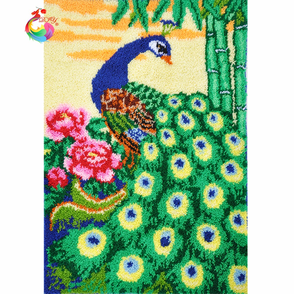 Unfinished kits Latch Hook Kit Rug peacock rugs Set for embroidery Big size110x75cm DIY Kits for