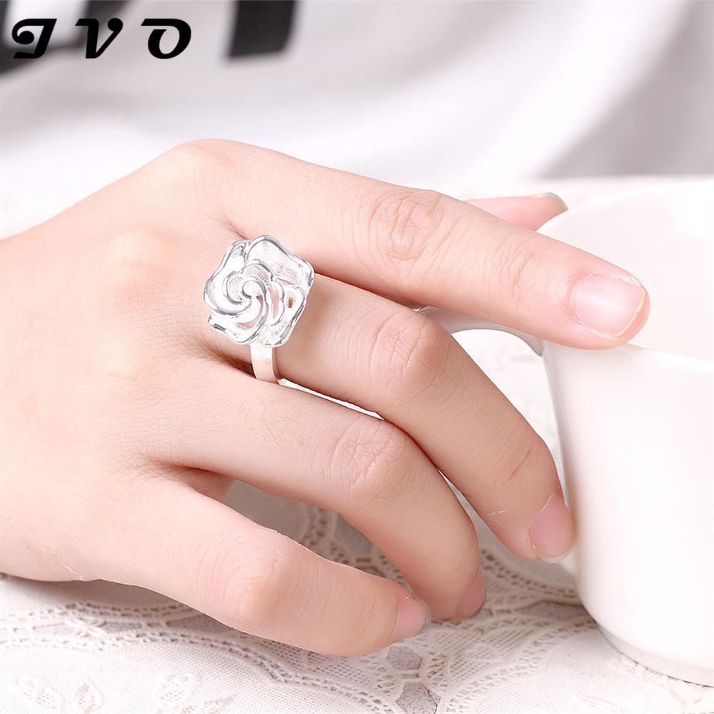 plant design flower hollow romantic wedding rings for women gift ...
