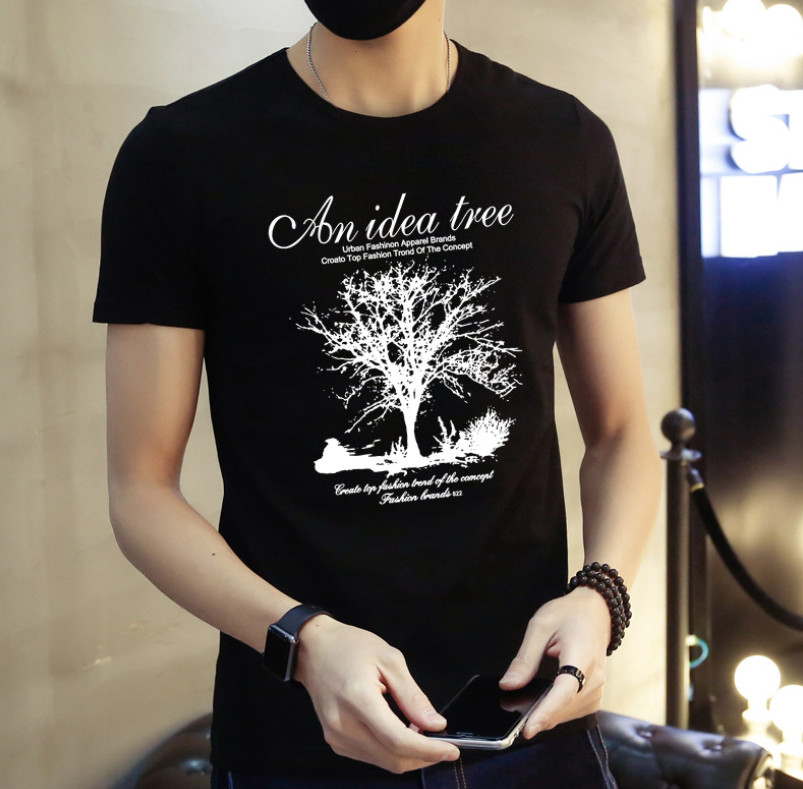Nero Manica Corta T-Shirt da Uomo