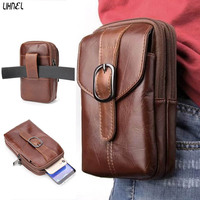 LIHNEL 6 3 Inch Genuine Leather Outdoor Hiking Climbing Waist Belt Bag For Xiaomi Redmi Mi5