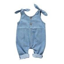 Летние штаны на подтяжках детский джинсовый однотонный топ с лосинами, комбинезон, брюки Одежда для детей от 4 месяцев до 2 лет