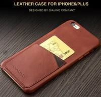 For iphone 6 6s case QIALINO Genuine Calf Leather Case for iPhone6/6s insert card on the back case for iphone 6/6s plus