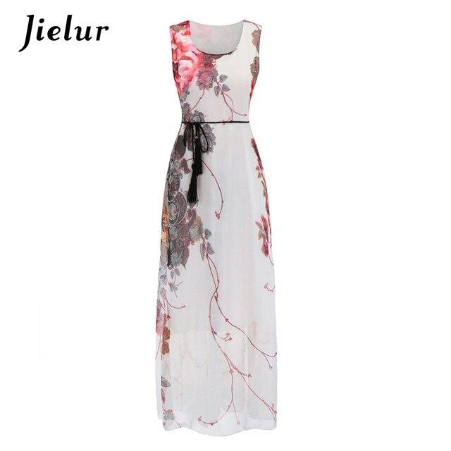8b14f14d4363 Jielur elegantes Vestidos de gasa con estampado flores para mujeres cuello  redondo sin mangas fajas recto Boho Mujer verano vestido largo