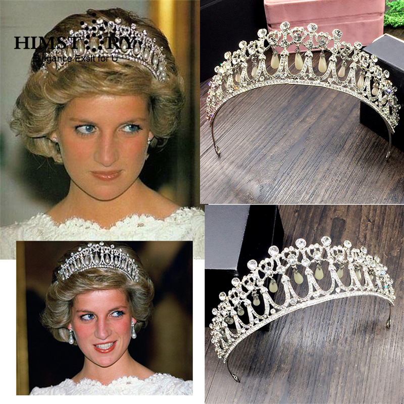HIMSTORY 2017 New Princess Diana Crown Crystal and Pearl for Bridal Hair Accessories and Bridal Tiara цена