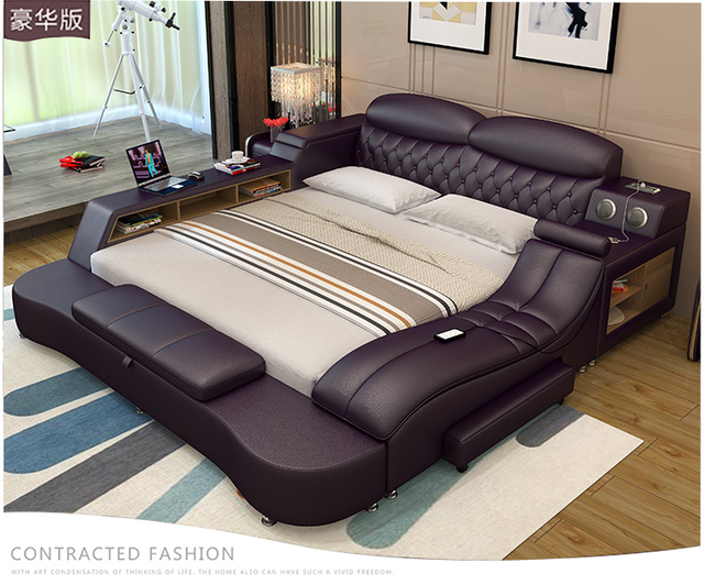 Genuine Leather Bed Frame Soft Beds Massager Storage Safe Speaker