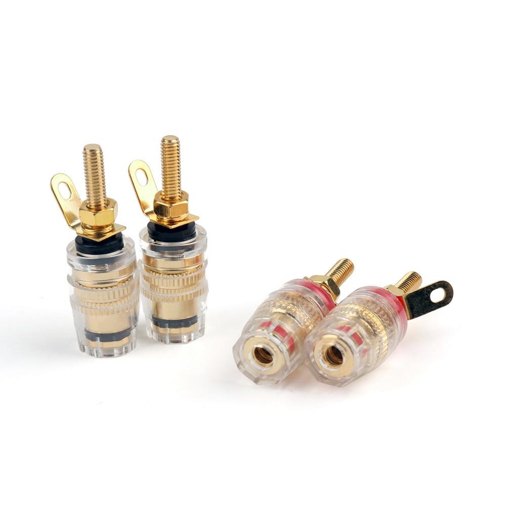 где купить Areyourshop 4 Pcs Copper Crystal Audio Speaker For 4mm Banana Jack Plug Long Thread Adapter Connector по лучшей цене