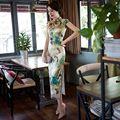 Venta caliente Azul de la mujer de Satén Largo Cheongsam Moda de China Estilo Señora elegante Delgado Qipao Vestido Tamaño Sml XL XXL 275911