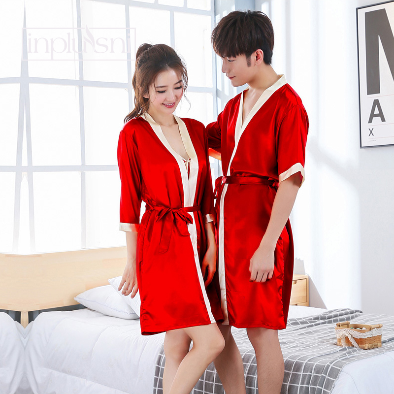 Inplusni men's and women's Sleep & Lounge robes Autumn faux silk couple robes bathrobe bath red wedding men and women homewear
