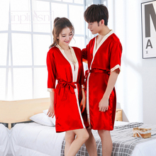 Inplusni men's and women's Sleep & Lounge robes Autumn faux silk couple robes bathrobe bath red wedding men and women homewear daniel chinese red faux suede 5 lounge pillow