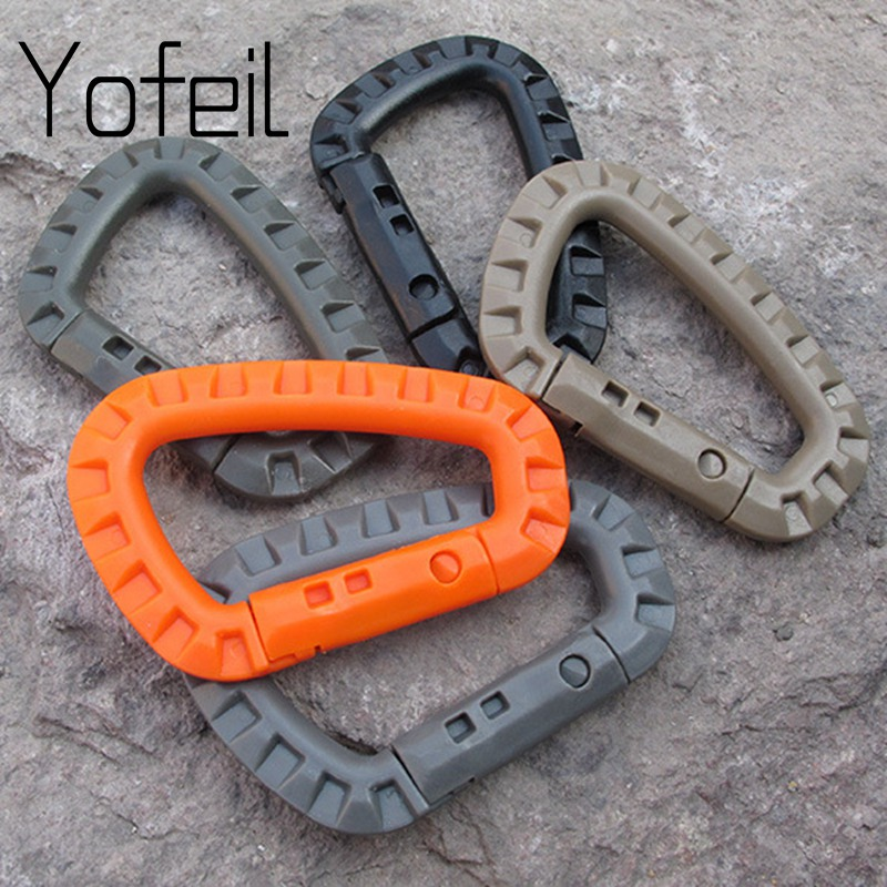 5pcs ITW Medium Tactical Outdoor Carabiner Hook Backpack Molle System D Buckle Military Outdoor Bag Camping Climbing Accessories