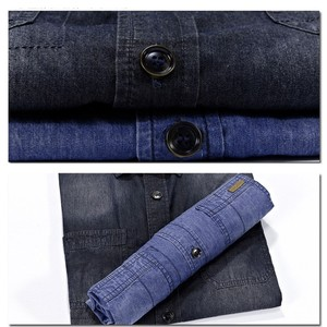 Image 5 - Casual Shirts Solid  High Quality Summer Denim Shirt Men Short Sleeve Casual Shirts Loose Plus Size XXXL 4XL 2018 New