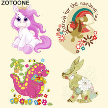 ZOTOONE Cartoon Dinosaur Dog Unicorn Iron on Transfer Patches for Clothes DIY Stripes Custom Patch Stickers Applique T-shirt E