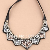 Free Shipping Trendy Jewelry 2013 Elegant Korean Rhinestones Collar Choker Necklace For Women Dress Accessories