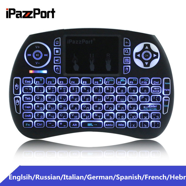 iPazzPort Mini 2.4GHz Wireless QWERTY Keyboard Portable Air Mouse with Touchpad Backlit Backlight for PC Smart TV Android TV Box