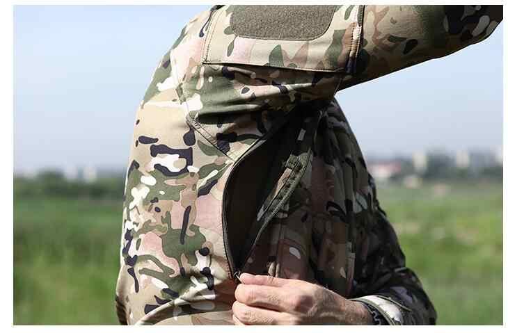 Мужская камуфляжная куртка, ветрозащитная тактическая куртка в стиле милитари, с воротником-стойкой, флисовая верхняя одежда