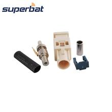 Superbat Fakra B1 белый обжимной разъем штекер применяется к радио с Фантом питания длинная версия для кабельного RG316 LMR100 RG174