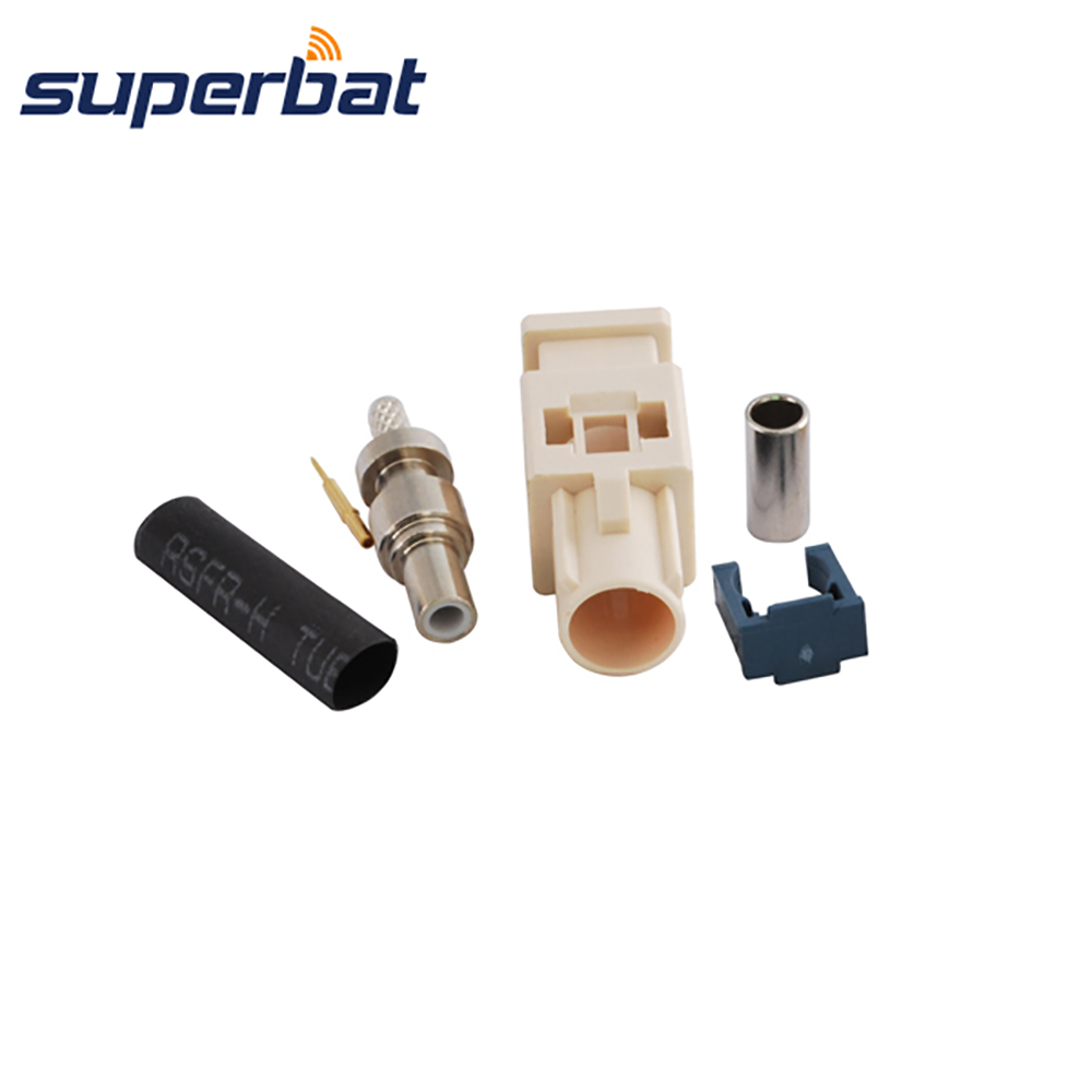Superbat Fakra B1 White Crimp Plug Male Connector Apply To Radio With Phantom Supply Long Version For Cable RG316 LMR100 RG174