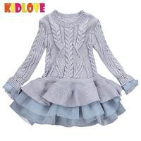 KIDLOVE Girl Knitted Long Sleeve Sweater Dress Princess Organza Tutu Kids Outfits Christmas Children Girls Winter