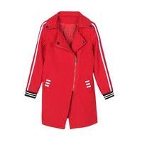 Windbreaker Jacket Female Spring And Autumn Korean Version Of Long Sleeves Wild Waist Was Thin Large