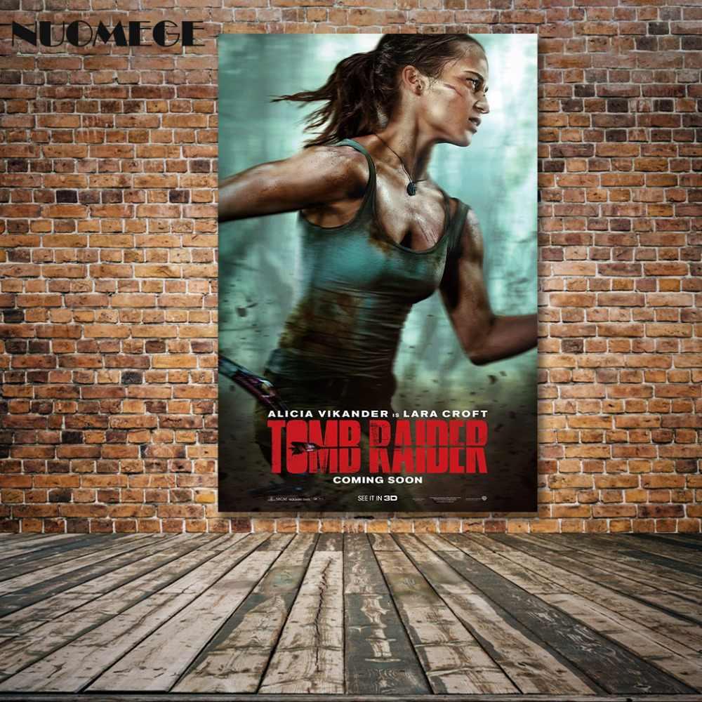 NUOMEGE Tomb Raider Lara Croft художественные постеры с принтом 12x18 24x36 дюймов на шелковой фрабической стене картина для гостиной домашний декор