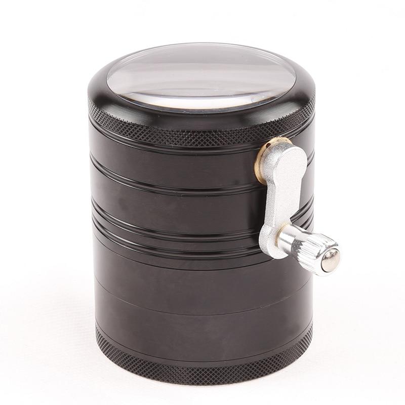 Hoge kwaliteit vier layer aluminium hand-slijpen diameter 6.3 cm side rocker grinder voor tabak kruid weeg sigaret