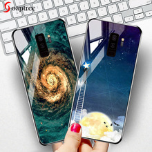 Soaptree Tempered Glass Case For Samsung Galaxy S9 S8 Plus Cases Luxury Stars Space Silicone Cover for Bumper