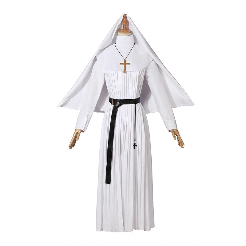 Adulte Halloween carnaval Costumes la vierge marie Costume Cosplay Sexy catholique nonne Robes vêtements foulard croix Costume - 5
